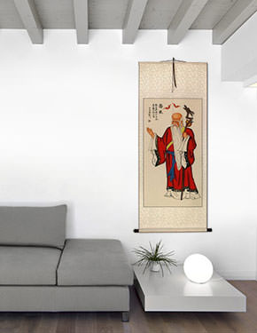 Longevity God Wall Scroll living room view