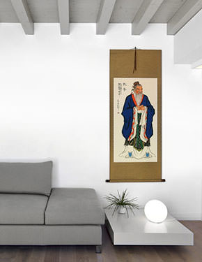 Confucius - Wise Man - Wall Scroll living room view