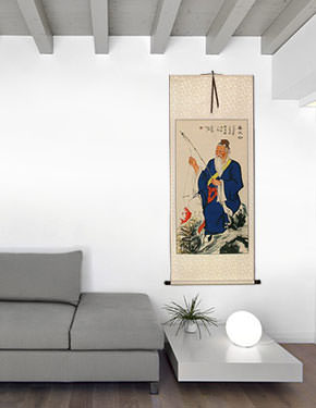 Wise Old Man Fishing Wall Scroll living room view
