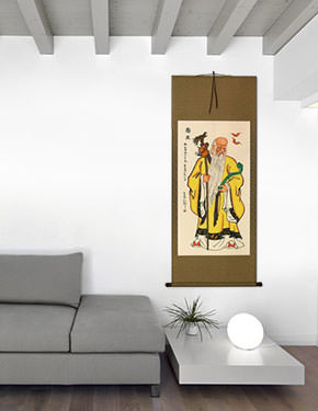 The God of Longevity - Chinese Scroll living room view