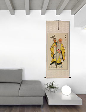 The Saint of Longevity Holding Peach - Chinese Scroll living room view