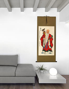 Saint of Longevity Wall Scroll living room view