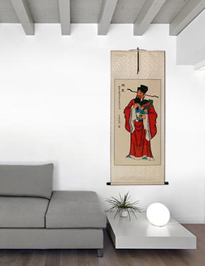 God of Affluence - Lu Xing - Chinese Good Luck Wall Scroll living room view