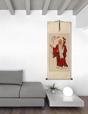 God of Longevity - Asian Scroll living room view