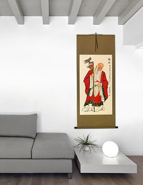 Longevity Saint Holding Peach - Chinese Scroll living room view