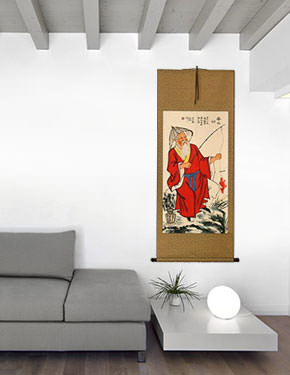 Old Man Fishing Fun Chinese Scroll living room view