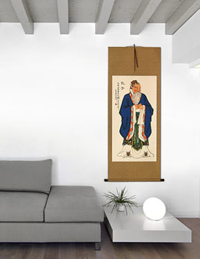 Confucius - Wise Man - Hanging Scroll living room view