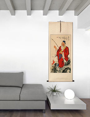 Honest Old Man Fishing Wall Scroll living room view
