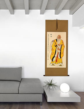 Ancient Lao Tzu Philosopher Wall Scroll living room view