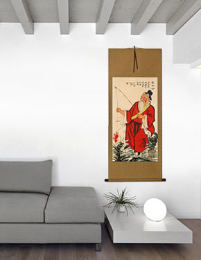 Old Man Fishing - Chinese Scroll living room view