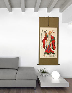 God of Longevity Wall Scroll living room view