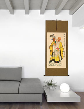 Longevity Saint Chinese Scroll living room view