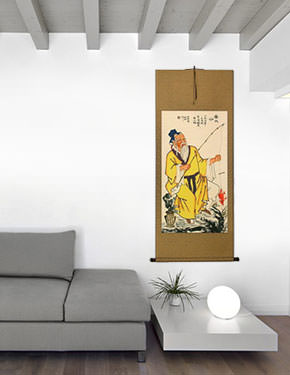 Respected Old Man Fishing Wall Scroll living room view