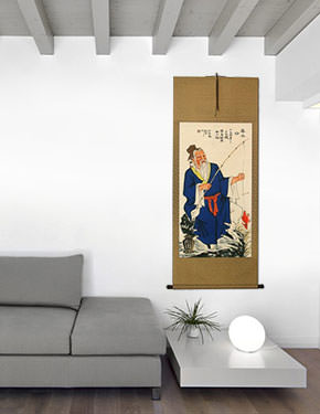 Revered Old Man Fishing Wall Scroll living room view