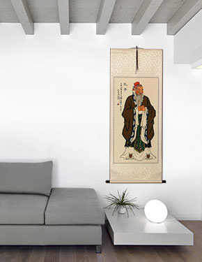 Confucius - Great Teacher - Wall Scroll living room view