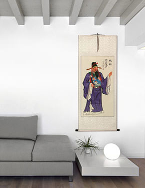 Lu Xing - God of Money and Prosperity - Wall Scroll living room view