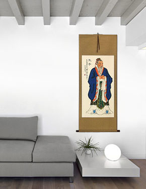 Great Sage Confucius Chinese Scroll living room view