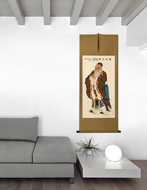 Confucius - Wisdom of the Ages - Wall Scroll living room view