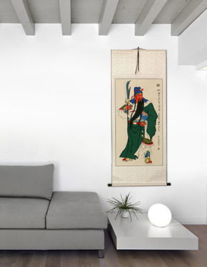 Guan Gong Saint of All Soldiers Wall Scroll living room view