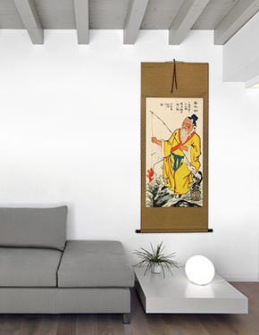 Famous Old Man Fishing Wall Scroll living room view