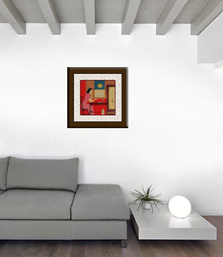 Asian Woman Drinking - Modern Art Painting living room view