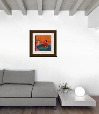 Lady in Waiting - Asian Modern Art Painting living room view