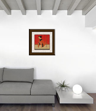Woman Playing Flute - Modern Art Painting living room view