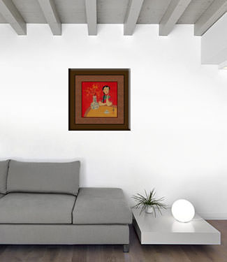 Woman and Flower Vase - Asian Modern Art Painting living room view