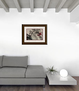 Abstract Woman and Butterflies Chinese Modern Art living room view