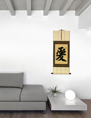 LOVE - Chinese Character / Japanese Kanji Wall Scroll living room view