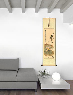 Lotus Beauty in Misty Morning Pond - Wall Scroll living room view