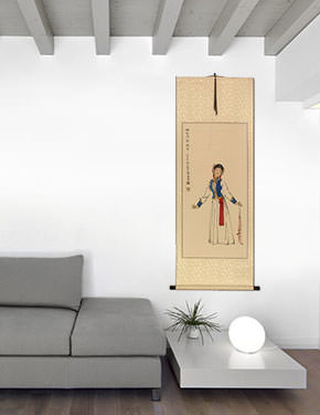 Night Festival Dancing Girl - Chinese Scroll living room view