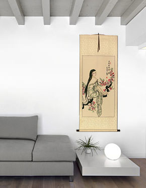 Beauty Under the Flowers Like Poetry - Chinese Wall Scroll living room view