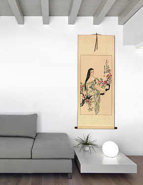 Beauty Under the Flowers Like Poetry - Chinese Scroll living room view