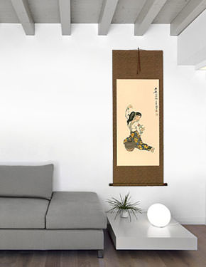 Woman Connected to Lover by Water - Wall Scroll living room view