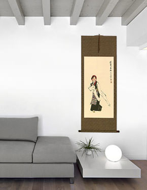 Dancing Minority Girl of Southern China Wall Scroll living room view