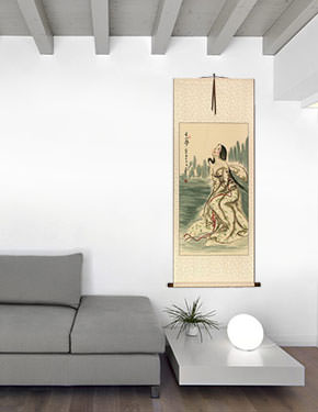 Beautiful Woman Wu Mountain Dreams - Chinese Wall Scroll living room view