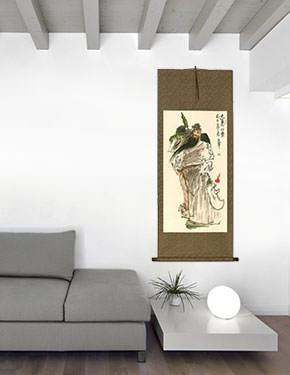 Loyalty and Righteousness Among the Brave - Chinese Scroll living room view