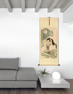 Beautiful Woman Under the Moon - Asian Wall Scroll living room view