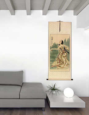 Wu Mountain Dreams - Beautiful Woman - Chinese Wall Scroll living room view