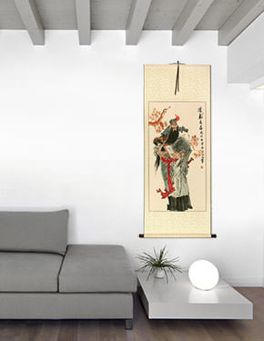 Warrior Guan Gong - Big Wall Scroll living room view