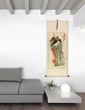 Loyalty & Righteousness Among the Brave - Chinese Wall Scroll living room view