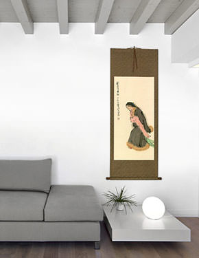 Dancing Girl Chinese Wall Scroll living room view