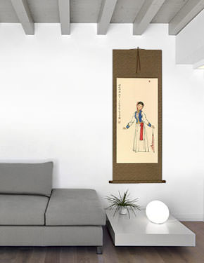 Dancing Girl - Wall Scroll living room view