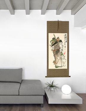 Benevolent and Brave Warrior Guan Gong - Chinese Scroll living room view