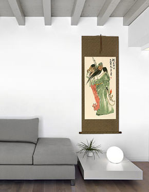 Loyalty and Righteousness Among the Brave - Chinese Wall Scroll living room view