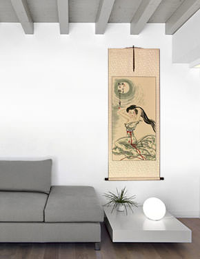Beautiful Woman Under the Moon - Chinese Scroll living room view