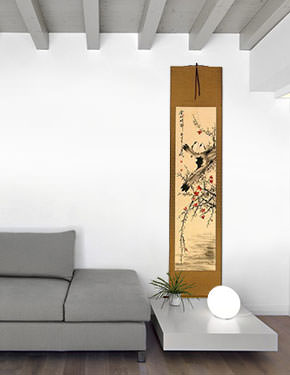 The Golden Autumn - Bird and Flower Chinese Wall Scroll living room view