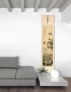 Kingfisher Birds in Lotus Pond - Wall Scroll living room view