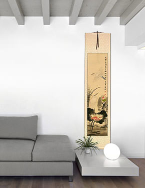 Lily Pond - Fragrant Lotus - Egret Birds and Lotus Flowers Wall Scroll living room view